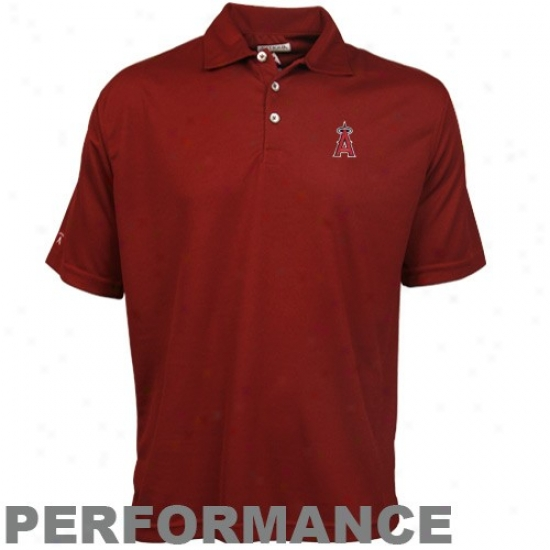 Los Angeles Angels Of Anaheim Clothing: Antgiua Los Angeles Angels Of Anaheim Red Excellenc3 Performance Polo