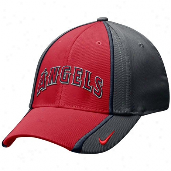 Los Angeles Angels Of Anaheim Hat : Nike Los Angeles Angels Of Anaheim Charcoal-red 2-tone Tactile Swoosh Flex Hat