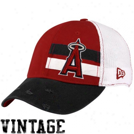 Los Angeles Angels Of Anaheim Hats : New Era Los Angeles Angels Of Anaheim White Double Stripe Vintage Flex Fit Hats