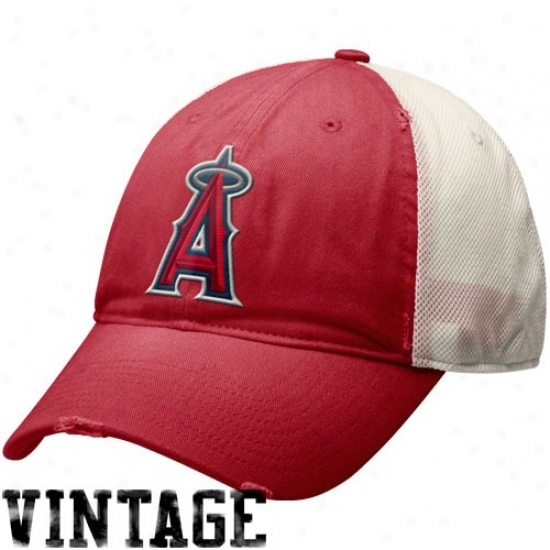 Los Angeles Angels Of Anaheim Hats : Nike Los Angeles Anngels Of Anaheim Red-natural Faded Mesh Adjustable Hats