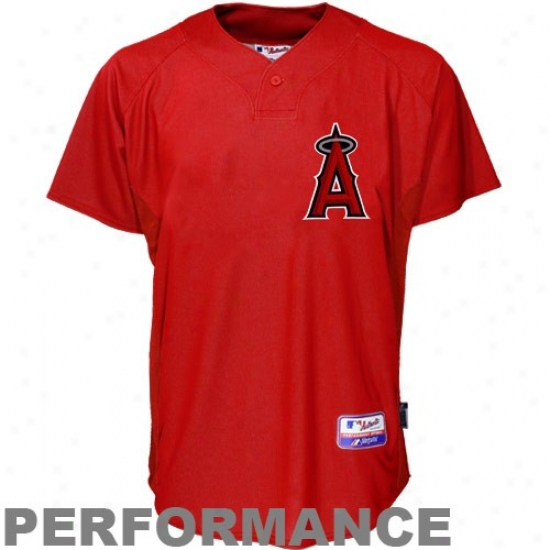 Los Angeles Angels Of Anaheim Jerseys : Majestic Los Angeles Angels Of Anaheim Red Baseball Practice Performance Jerseys