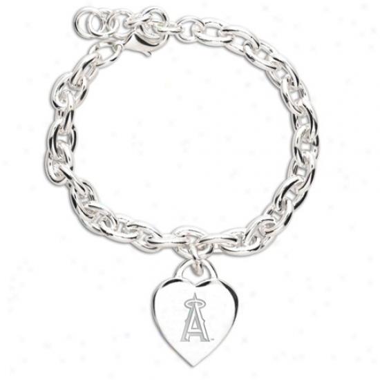 Los Angeles Angels Of Anaheim Ladies Silver Heart Charm Bracelet