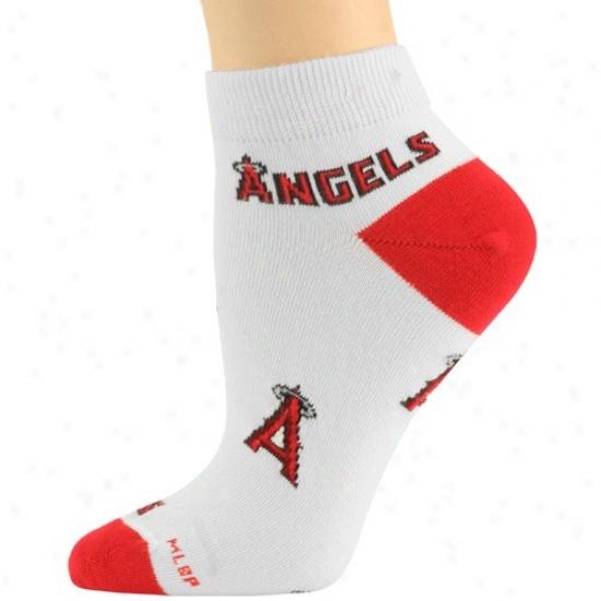 Los Angeles Angels Of Anaheim Ladies White Team Logo Ankle Socks