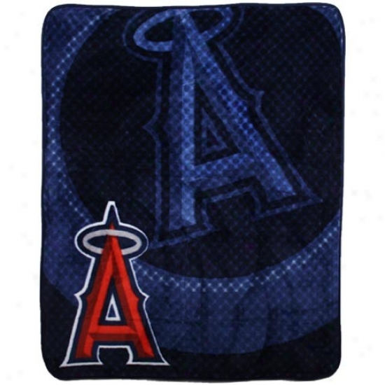 Los Angeles Angels Of Anaheim Navy Blue Retro Royal Plush Blanket Throw