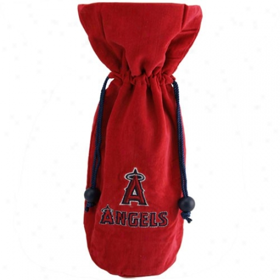 Los Angeles Angels Of Anaheim Red Velvet Wine Bottle Bag