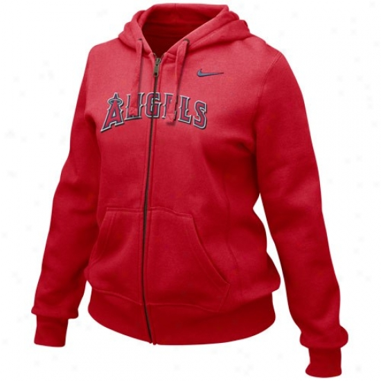Los Angeles Angels Of Anaheim Sweatshirt : Nike Los Angeles Angels Of Anaheim Laries Red Into Seams Full Zip Sweatshirt