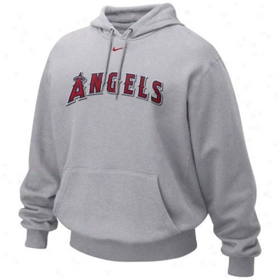 Los Angeles Angels Of Anaheim Sweatshirt : Nike Los Angeles Angel Of Anaheim Ash Tacile Twill Sweatshirt