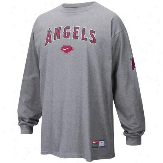 Los Angeles Angels Of Anaheim T-shirt : Nike Los Angeles Angels Of Anaheim Ash Mlb Practice Long Sleeve T-shirt