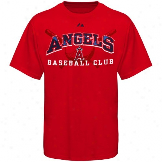 Los Angeles Angels Of Anaheim Tees : Elevated Los Angeles Angels Of Anaheim Red Monste rPlay Tees