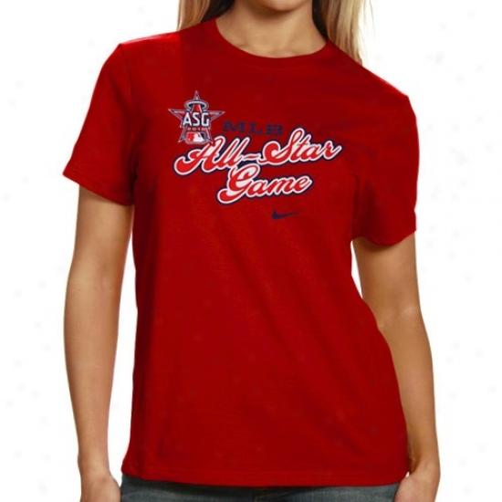 Los Angeles Angels Of Anaheim Tees : Nike 2010 Mlb All-etar Gamme Ladies Red Tees
