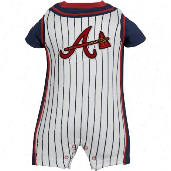 Elevated Atlanta Braves Infant White Pinstripe Romper