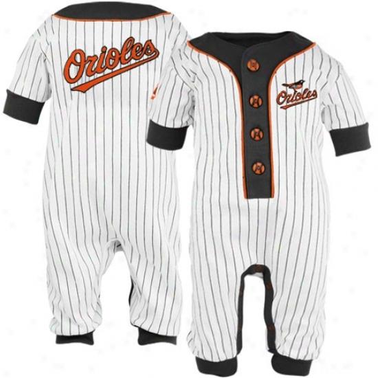 Majestic Baltimore Orioles Infant White Pinstripe Coveralls