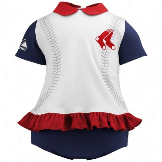Majestic Boston Red Sox Infant Girls White-navy Blue Top & Bloomers Set