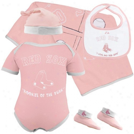 Majestic Boston Red Sxx Newborn Girls Pink Rookie Of The Year 5-piece Box Set