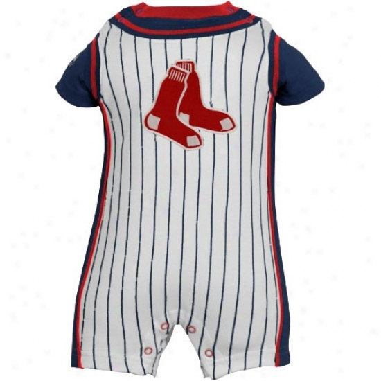 Majestic Boston Red Sox Newborn White Pinstripe Romper
