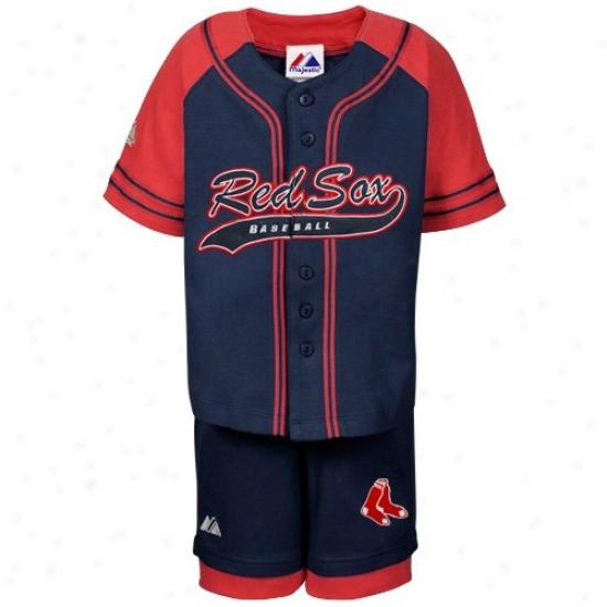 Majestic Boston Red Sox Preschool Navy BlueB utton Down Jersey & Shorts Uniform Set