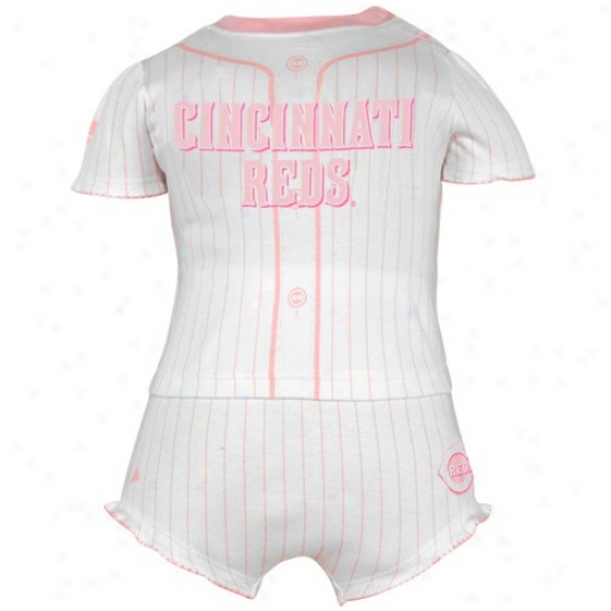 Majestic Cincinnati Reds Infant Girls Pink Pinstripe Top & Bloomers Suit