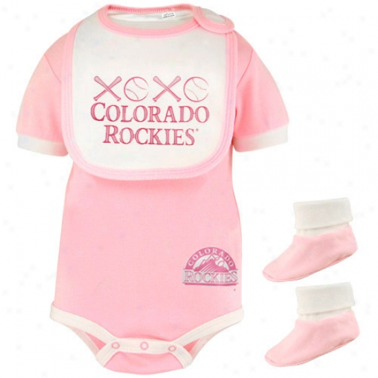 Majestic Colorado Rockies Infant Girrls Pink Sweetheart 3-piece Creeper, Bib & Booties Set