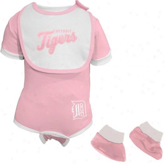 Majestic Detroit Tigers Infant Pink-white 3-piece Creeprr Set
