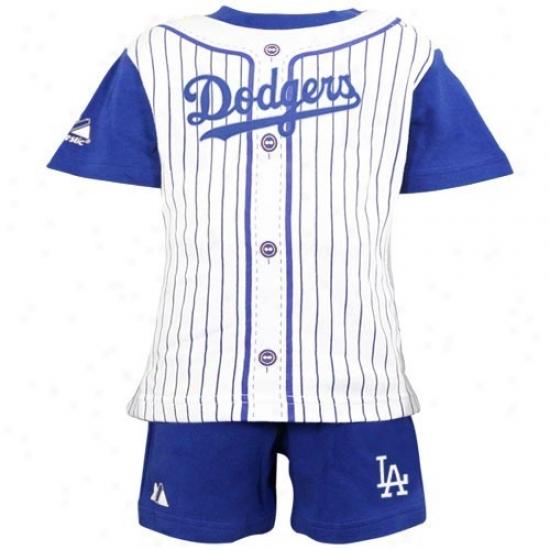 Majestic L.a. Dodgers Toddler Royal Azure Pinstripe 2-piece Consonant Short Set