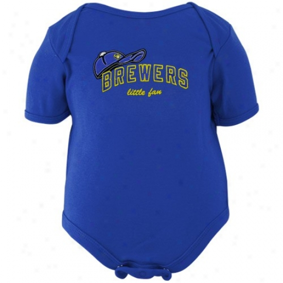 Majestic Milwaukee Brewers Infant Royal Blue Little Fan Creeper