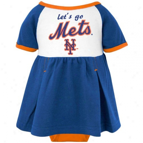 Majestic New York Mets Infant Girls Royal Blue Creeper Dress