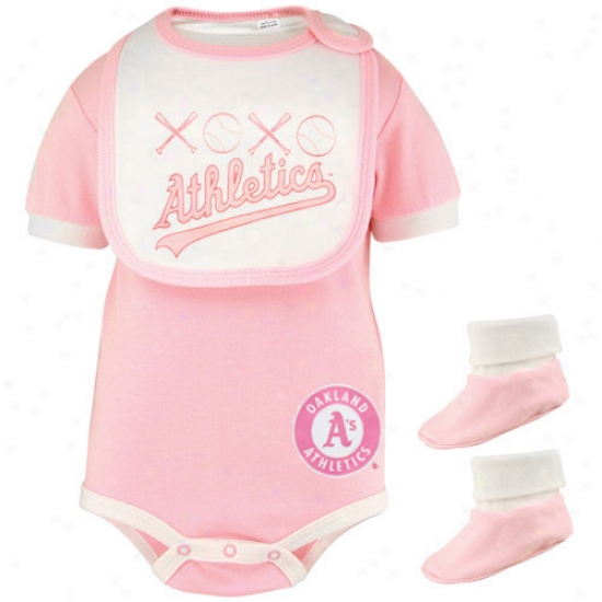Majestic Oakland Athletics Infant Girls Pink Sewetheart 3-piece Creeper, Bib & Booties Set