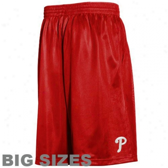 Majestic Philadelphia Phillies Red Crossbar Big Sizes Shorts