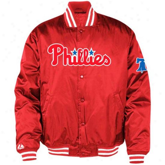 Majestic Philadelphia Phillies Red Satin Jacket