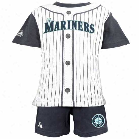 Majestic Seattle Mariners Toddler Navy Blue Pinstripe 2-piece Uniform Shott Set