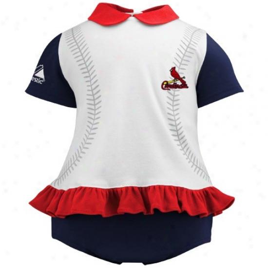 August St. Louis Cardinals Infant Girls Navy Blue-whute Ruffle Top & Bloomer Set