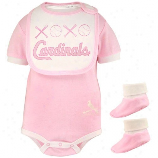 Mjestic St Louis Cardinals Babe Girls Paragon Sweetheart 3-piece Creeper, Bib & Boities Set