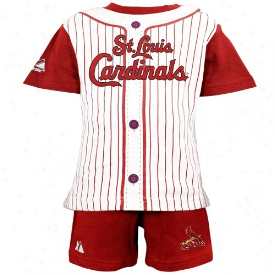 Majestic St Louis Cardinals Toddler Red Pinstripe 2-piece Uniform Short Set