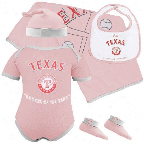 Majestic Texas Rangers Newborn Girls Pink Rookie Of The Year 5-piece Box Set