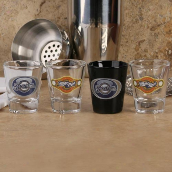 Milwaukee Brewers 4-pack Vortex Shot Glass Set