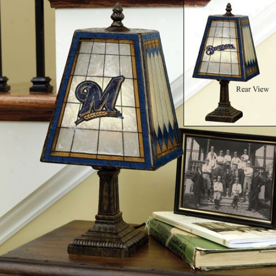 Milwaukeee Brewers Art-glass Table Lamp