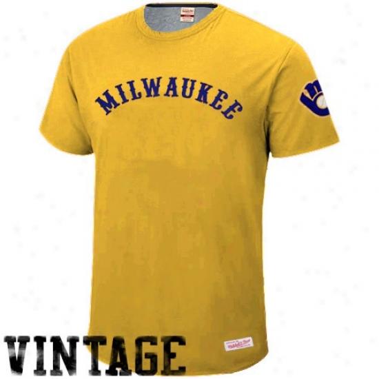 Milwaukee Brewer Attire: Mitchell & Ness Milwaukee Brewers Gold 1940 Throwback Vintage T-shirt