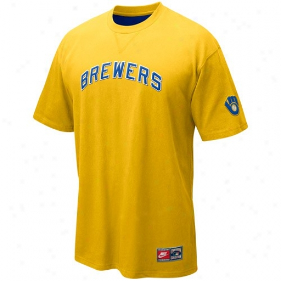 Milwaukee Brewers Attire: Nike Milwaukee Brewers Gold Cooperstown Tackle Twill T-shirt