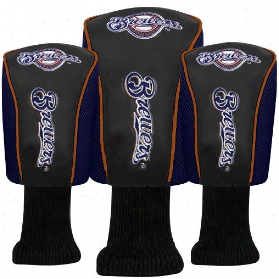 Milwaukee Brewers Black-navy Blue Three-pack Golf Club Headcovers