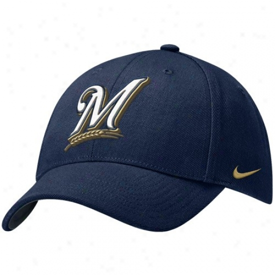 Milwaukee Brewers Cap : Nike Milwaukee Brewers Navy Blue Wool Classic Adjustable Cap