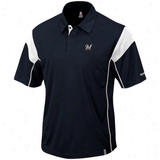 Milwaukee Brewers Clothes: Reebok Milwaukee Brewers Navy Blue Victory Polo