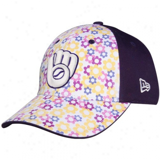 Milwaukee Brewers Gear: New Era Milwaukee Brewers Youth Girls Purple-white Just Add Sun Adjustable Hat