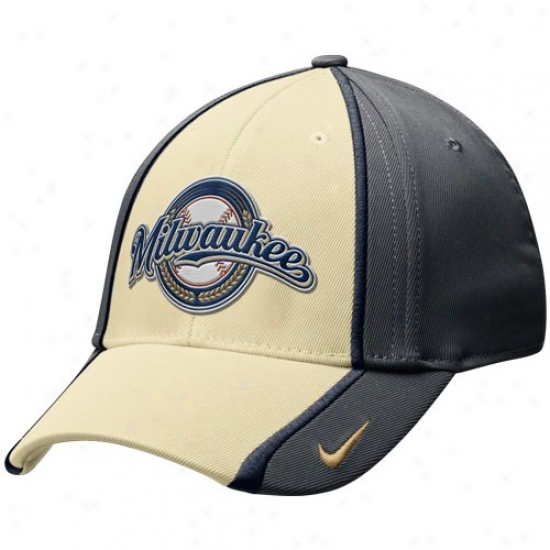 Milwaukee Brewers Hat : Nike Milwaukee Brewers Charcoal-natural 2-tone Tactile Swoosh Flex Hat