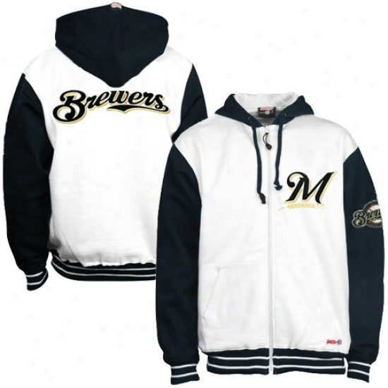 Milwaukee Brewers Hoody : Milwaukee Brewers White Abounding Zip Ho0dy
