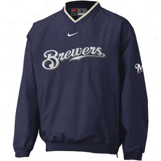 Milwaukee Brewers Jackets : Nike Milwaukee Brewers Navy Blue Staff Ace Windshirt