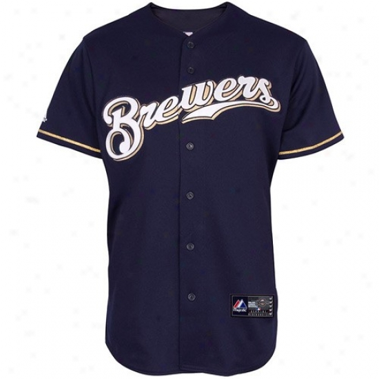 Milwaukee Brrewers Jersey : Majestic Milwaukee Brewers Navy Blue Replica Baseball Jersey
