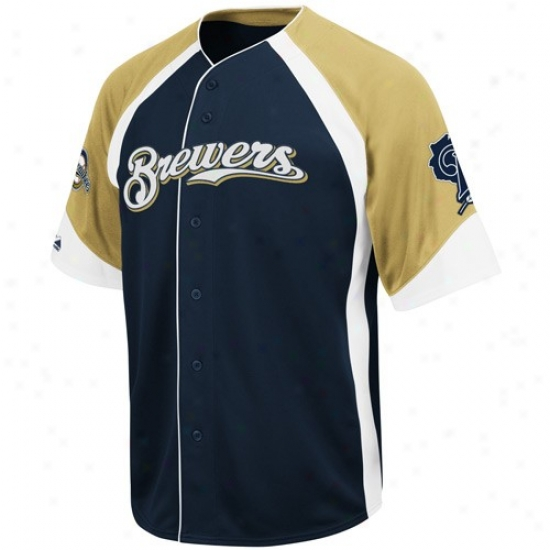 Milwaukee Brewers Jersey : August Milwaukee Brewers Navy Blue-gold Wheelhouse Baseball Jersey