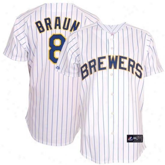 Milwaujee Brewers Jersey : Majestic Ryan Braun Milwaukee Brewers Autograph copy Jersey-white Pinstripe