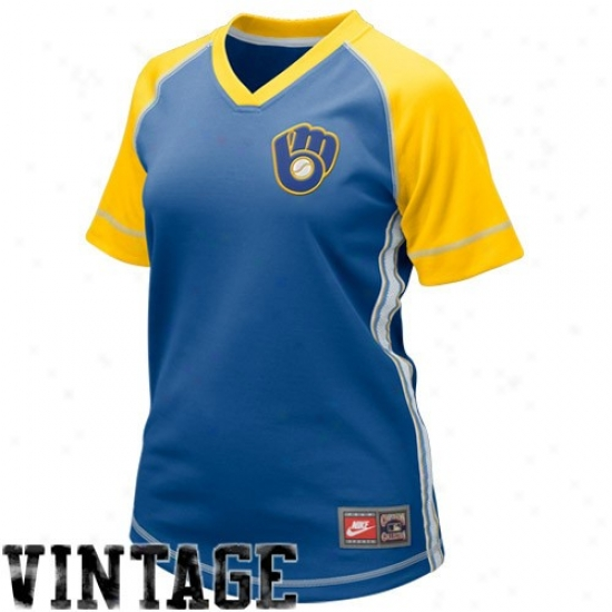 Milwaukee Brewers Jersey : Nike Milwaukee Brewers Ladies Royal Blue Cooperstown Throwback Baseball Jersey