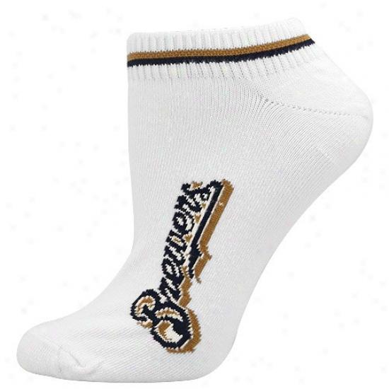 Milwaukee Brewers Ladies White (529) 9-11 Ankle Socks